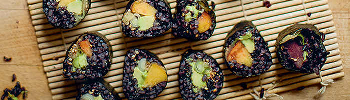 Peach Avocado and Forbidden Rice Nori Rolls