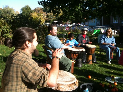 Drumming with our friends.
