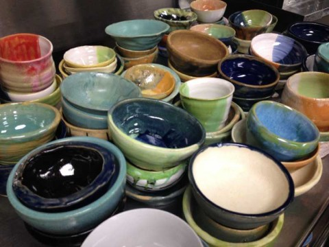 400 student-made ceramic bowls...one for each guest to use and keep!