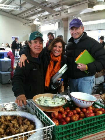"Farmer Dave, me and Bob Ross - my host on KSFR 101.1 FM's ""Gardens, Food & Santa Fe"" broadcast live from the Farmers Market"