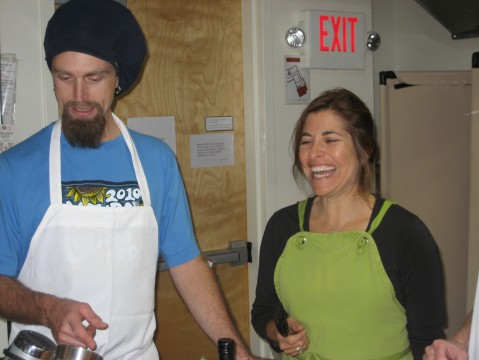Me having way too much fun cooking with Adrian, our ace assistant!
