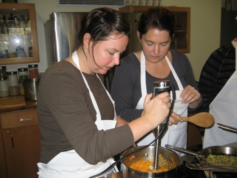 Sisters Megan and Kate whipping up the Carrot Cashew Miso Spread. Yum!